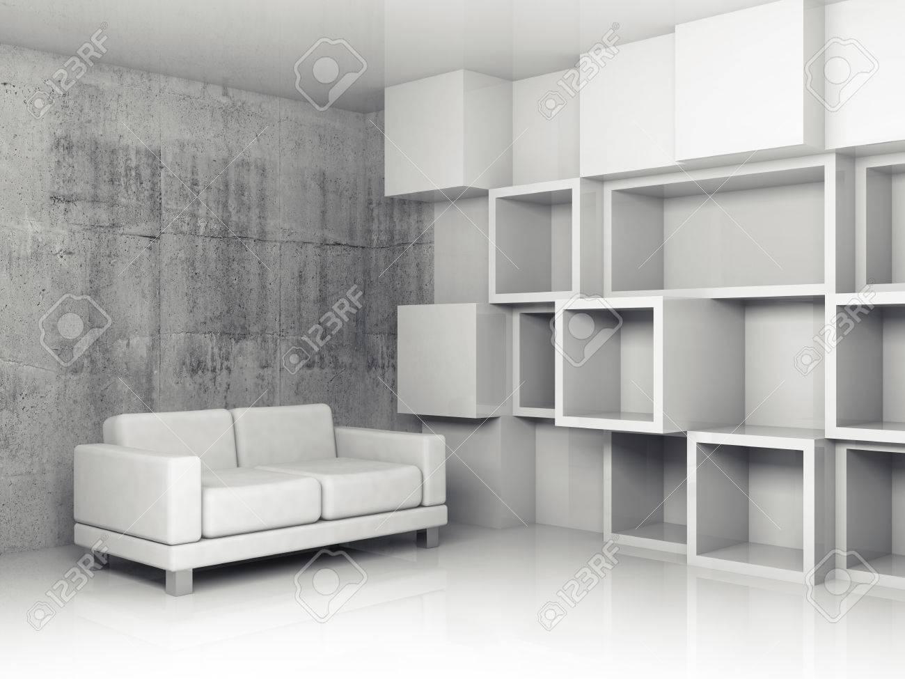 Abstract interior béton bureau avec soulagement blanc cube