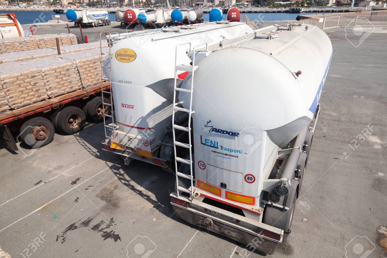 Propriano, France   July 3, 2015: White Trailer Tanks For Flour  Transportation Stands