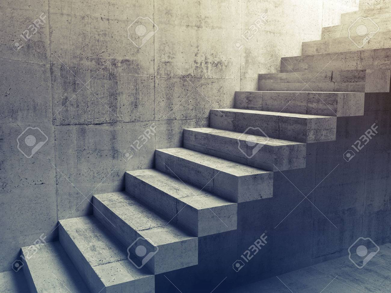 Banque Du0027images   Résumé Intérieur Du Béton, La Construction Des Escaliers  En Porte à Faux Sur Le Mur, Illustration 3d