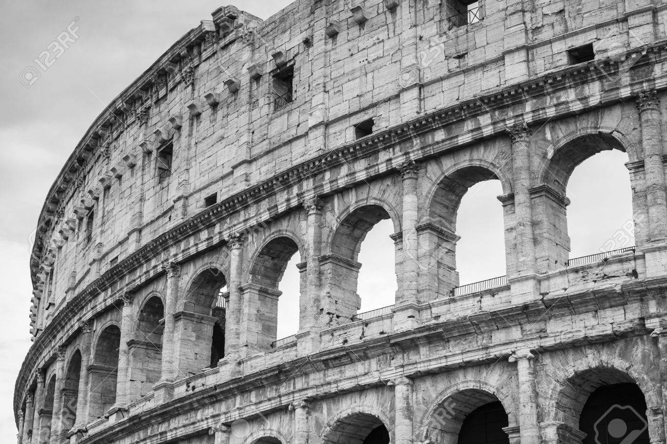 Exterior of the colosseum or coliseum also known as the flavian amphitheatre black and
