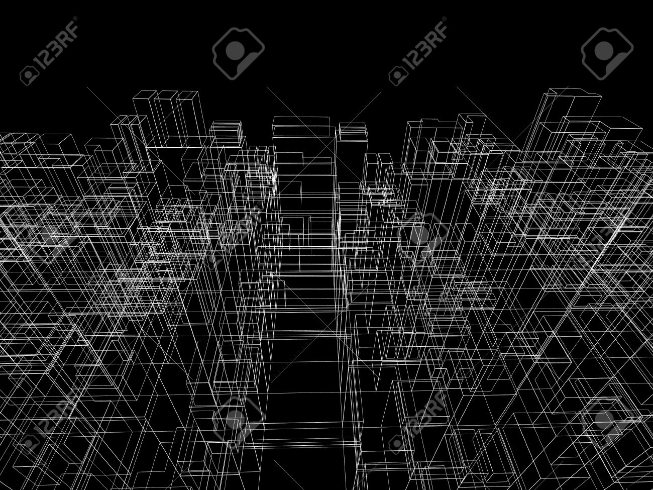 Digital Background With Cubic 3d Structure, White Wire-frame.. Stock ...