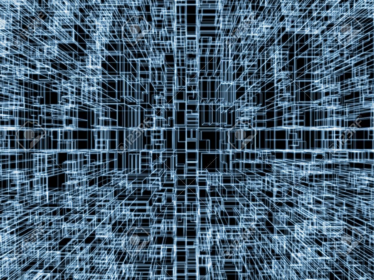Fondo Digital Con Estructura Cúbica 3d, Azul Líneas Del Marco De ...