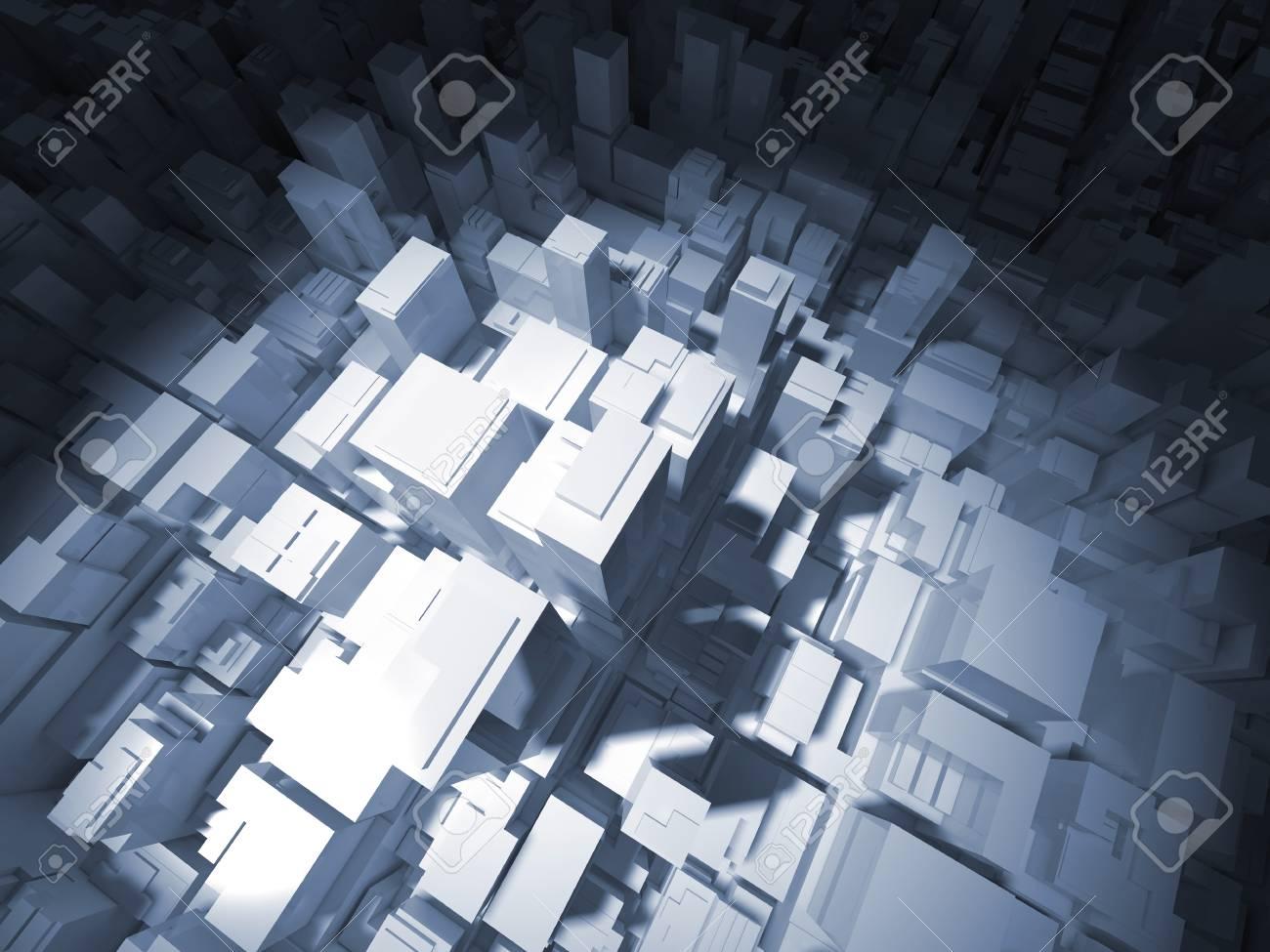 スポット ライト、3 d イラストの高層事務所建物抽象デジタル白い都市の景観