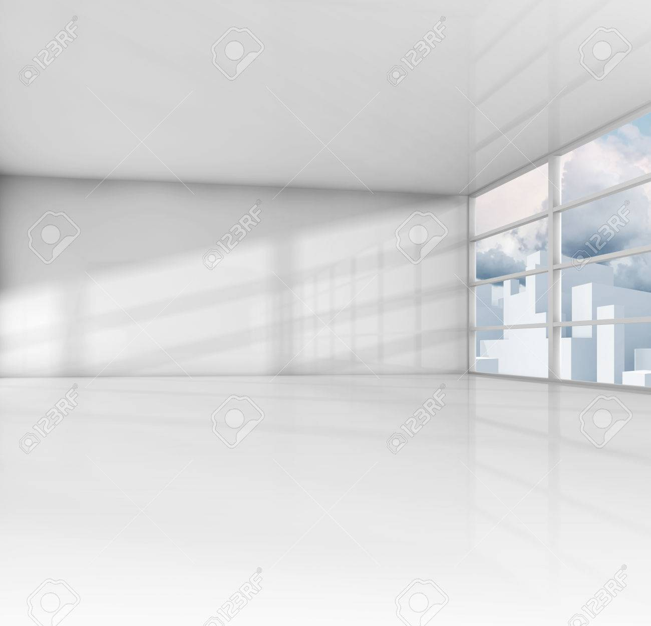 Abstract White Interior, Empty Office Room With Modern Cityscape ...