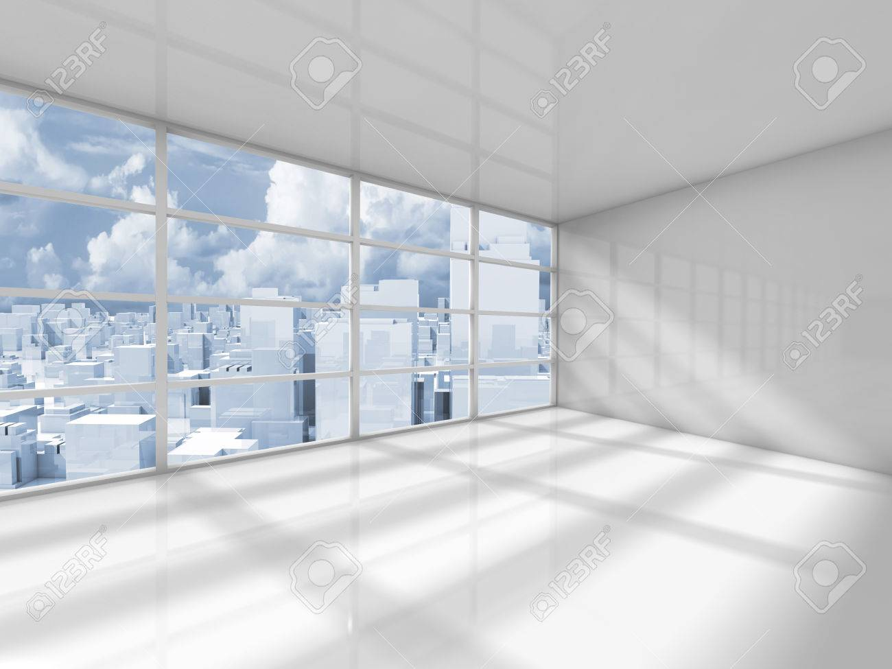 abstract white interior of an empty office room with modern city rh 123rf com empty office rooms Small Office Building Inside