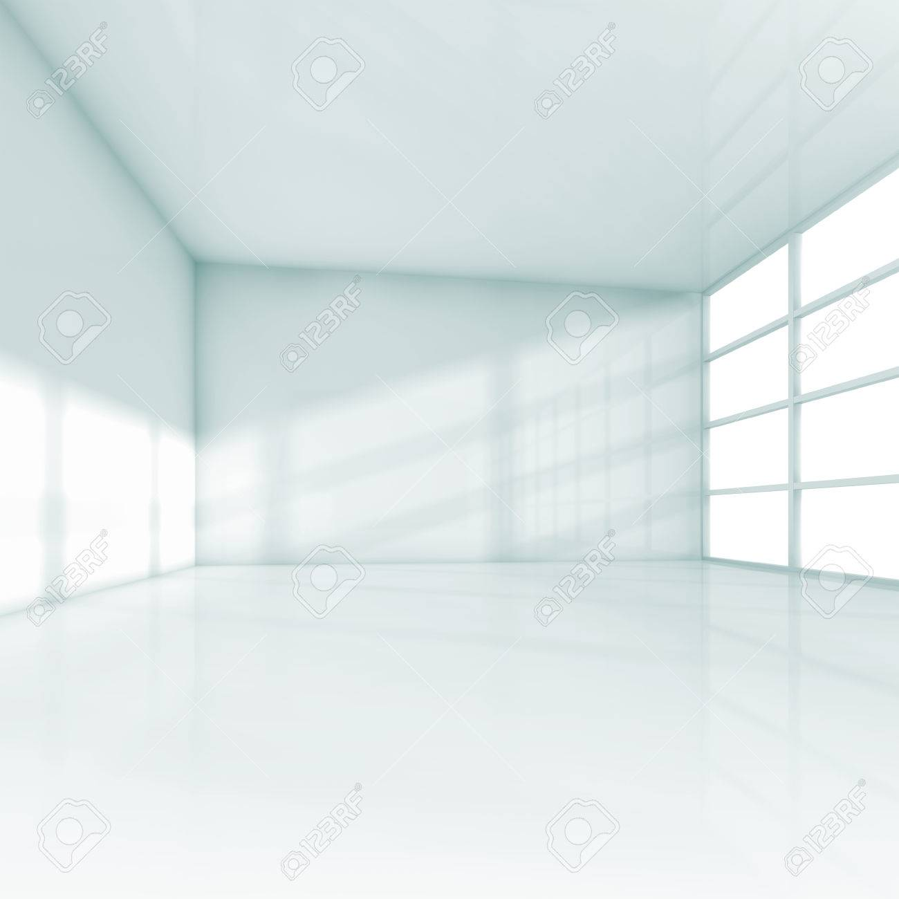 Abstract White Interior, Empty Office Room With Windows. Square ...