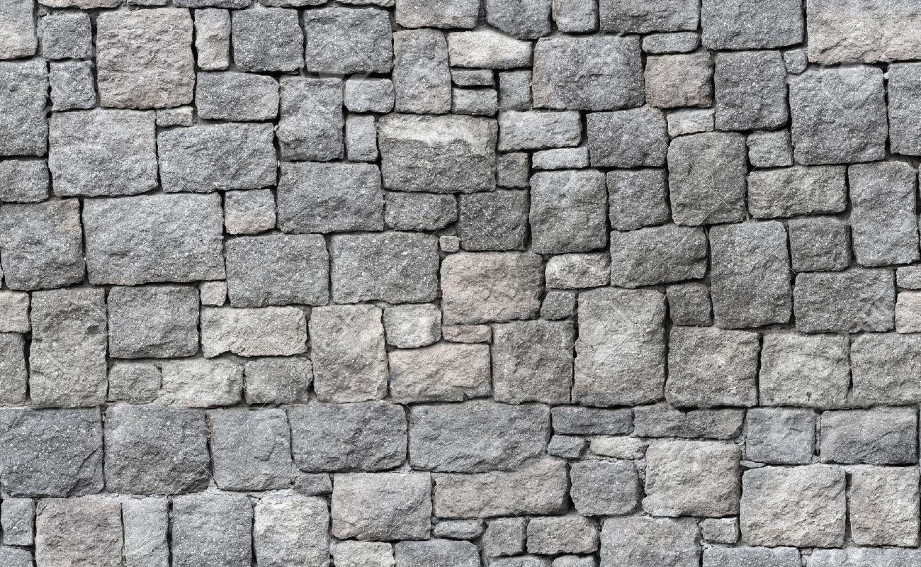 Old gray stone wall, seamless background photo texture Stock Photo - 46098525