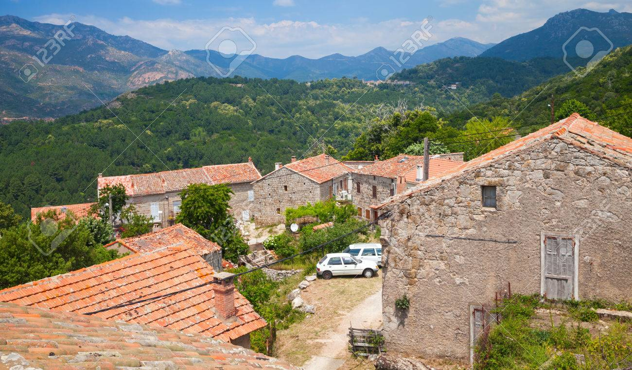 Rural Landscape Of South Corsica, Old Living Houses And Mountains ...