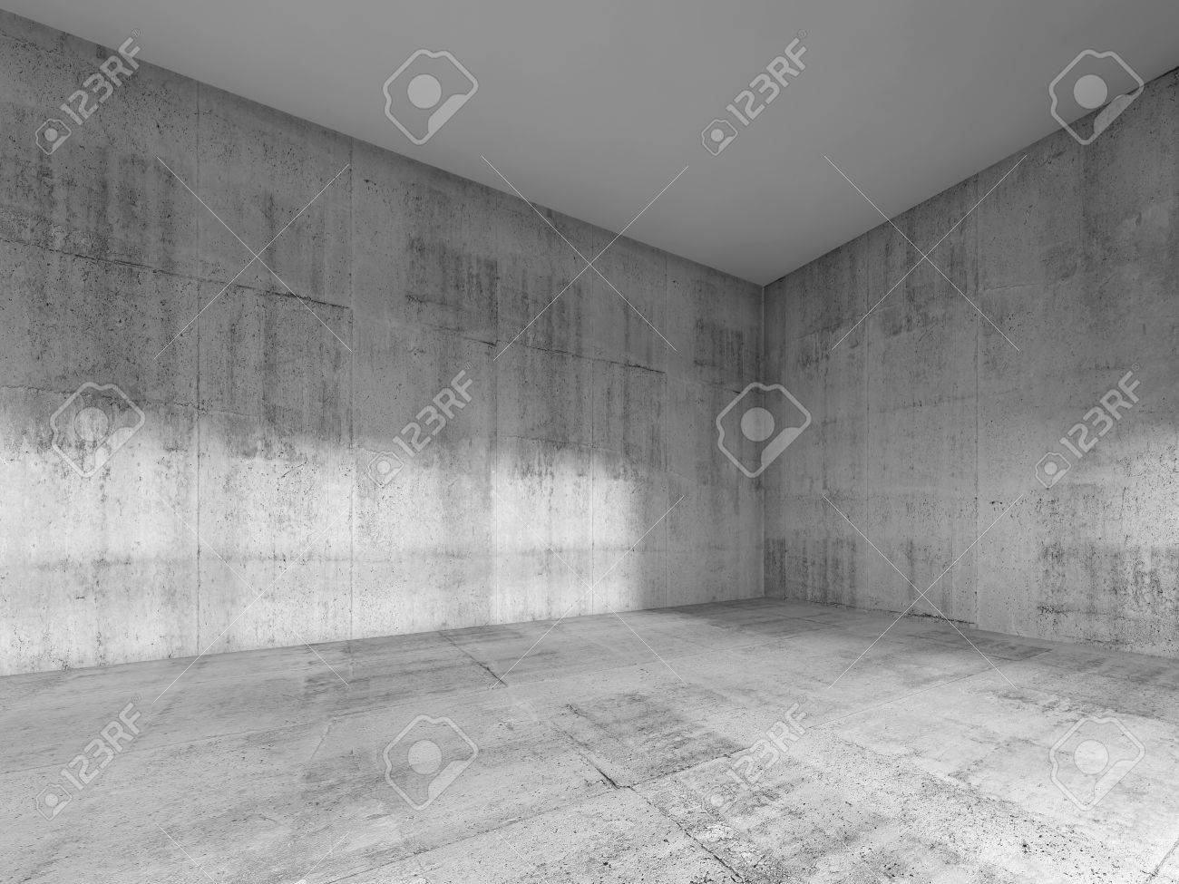 Abstract Interior Of An Empty Room With Rough Concrete Walls And White  Ceiling. 3d Render