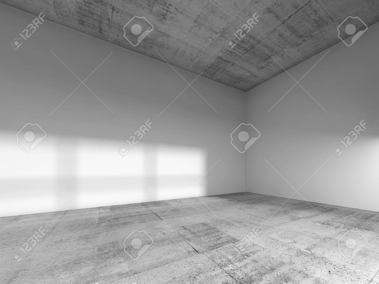 Abstract Interior Of An Empty Room With White Painted Walls Rough Concrete Floor And Ceiling