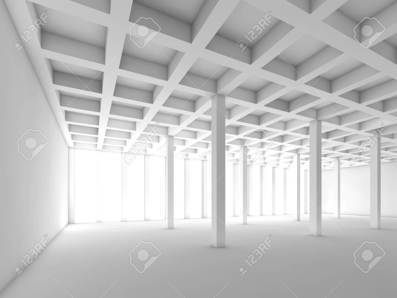 Abstrait Arrière Plan De L Architecture Avec Vue En Perspective De Blanc Pièce Vide Illustration 3d
