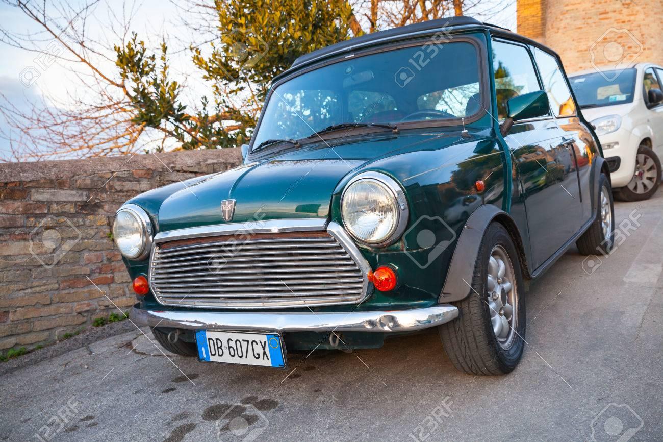 Fermo Italy February 8 2016 Dark Green Austin Mini Cooper