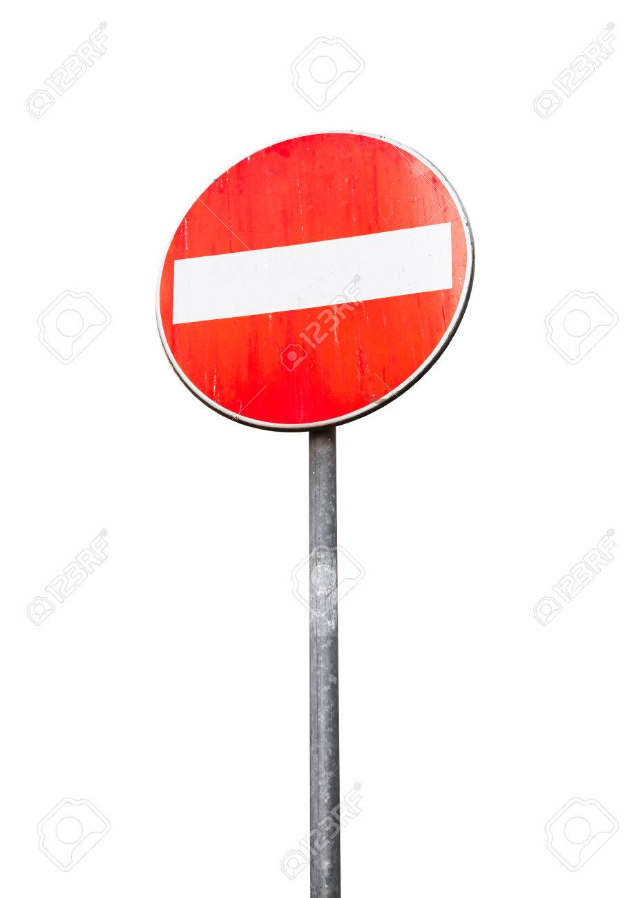 round red sign no entry on metal pole isolated on white banco de