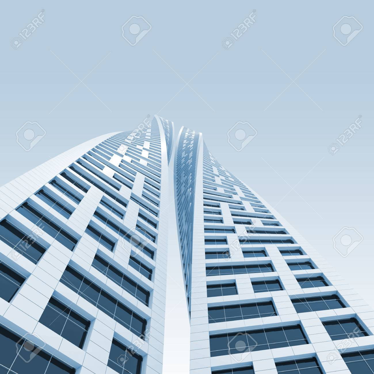 Modern Architecture Render abstract modern architecture. two twisted towers perspective