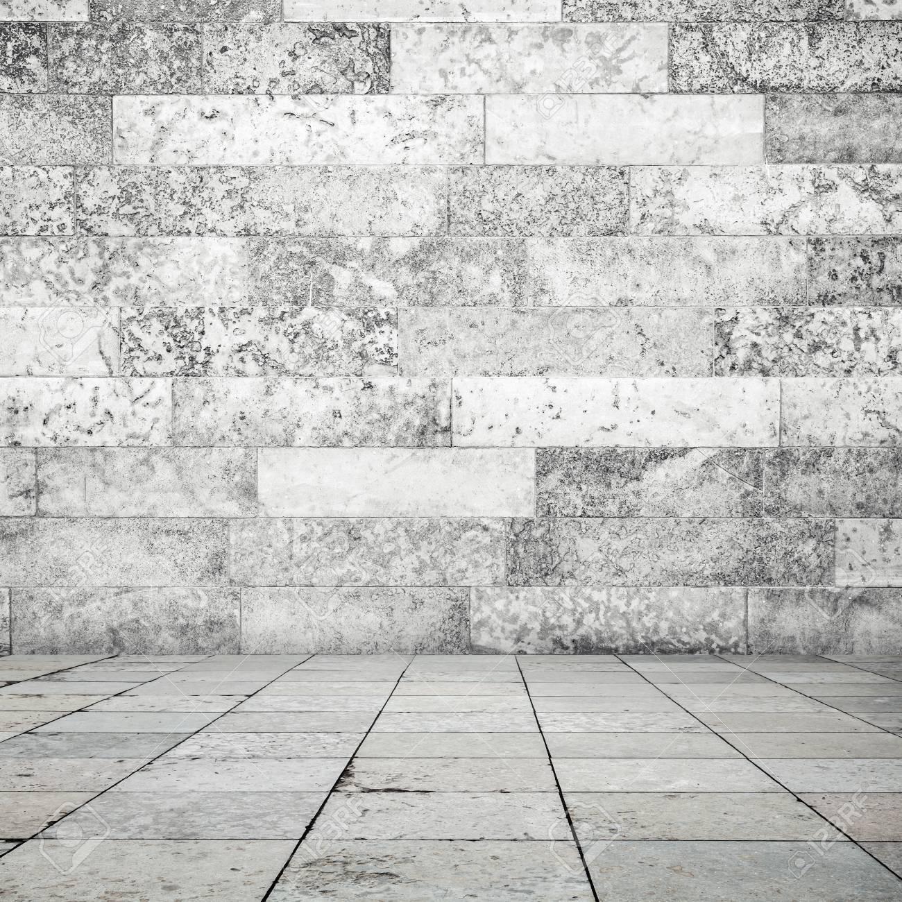 Abstrakt Leeren Innenraum Hintergrund Stein Bodenfliesen Und Weiss