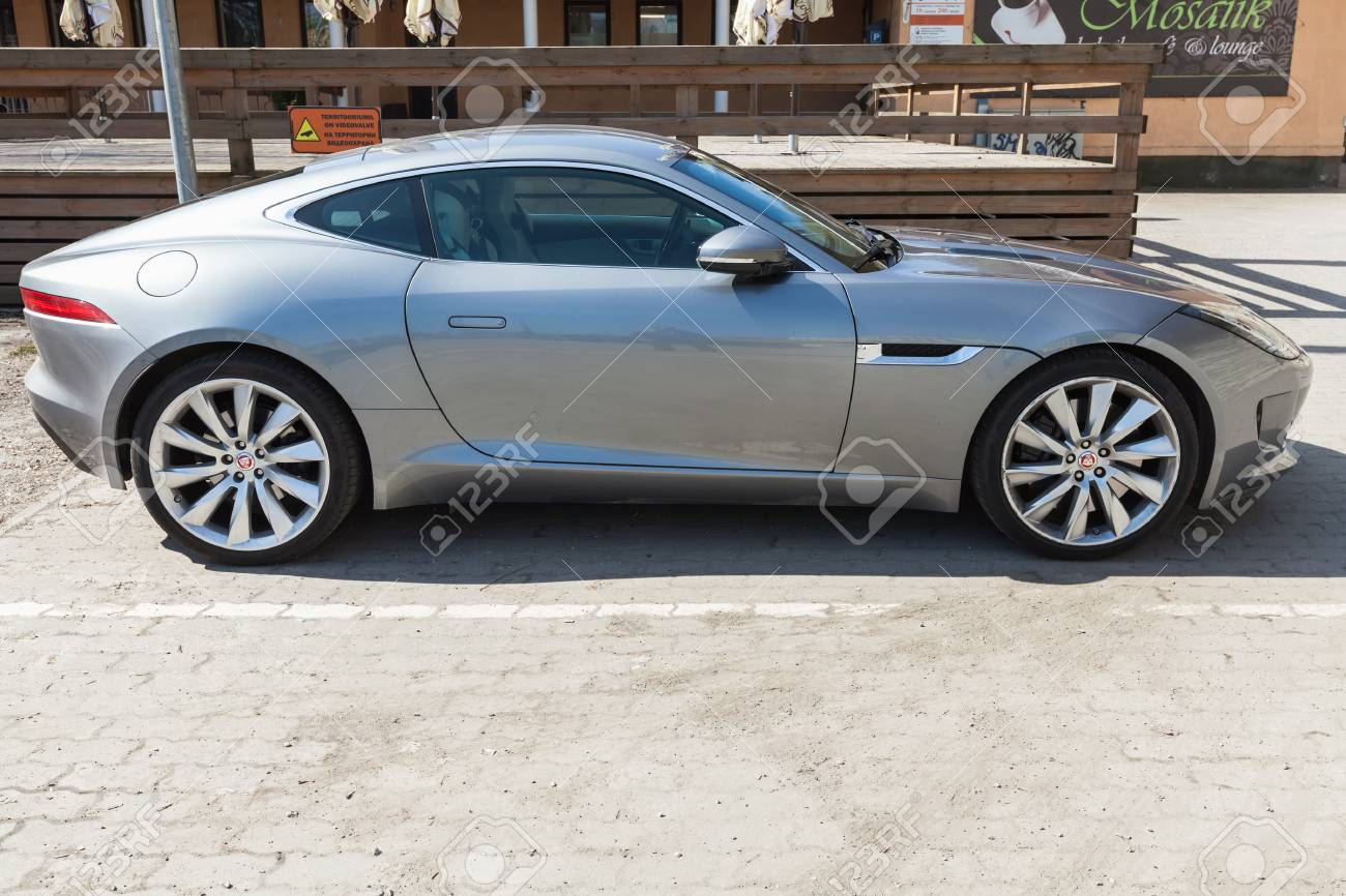 Stock Photo   Tallinn, Estonia   May 2, 2016: Gray Metallic Jaguar F Type  Coupe, Side View. Two Seat Sports Car, Based On A Platform Of The XK  Convertible, ...