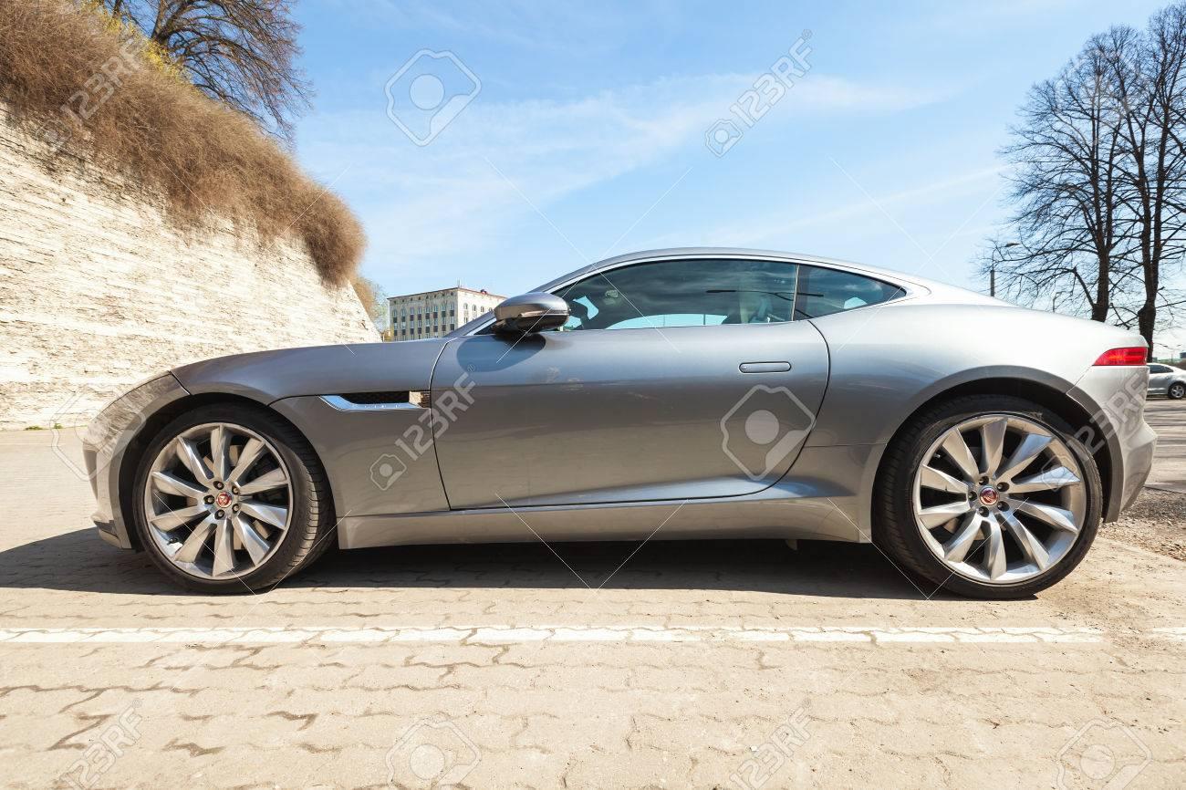 Tallinn, Estonia   May 2, 2016: Gray Metallic Jaguar F Type Coupe