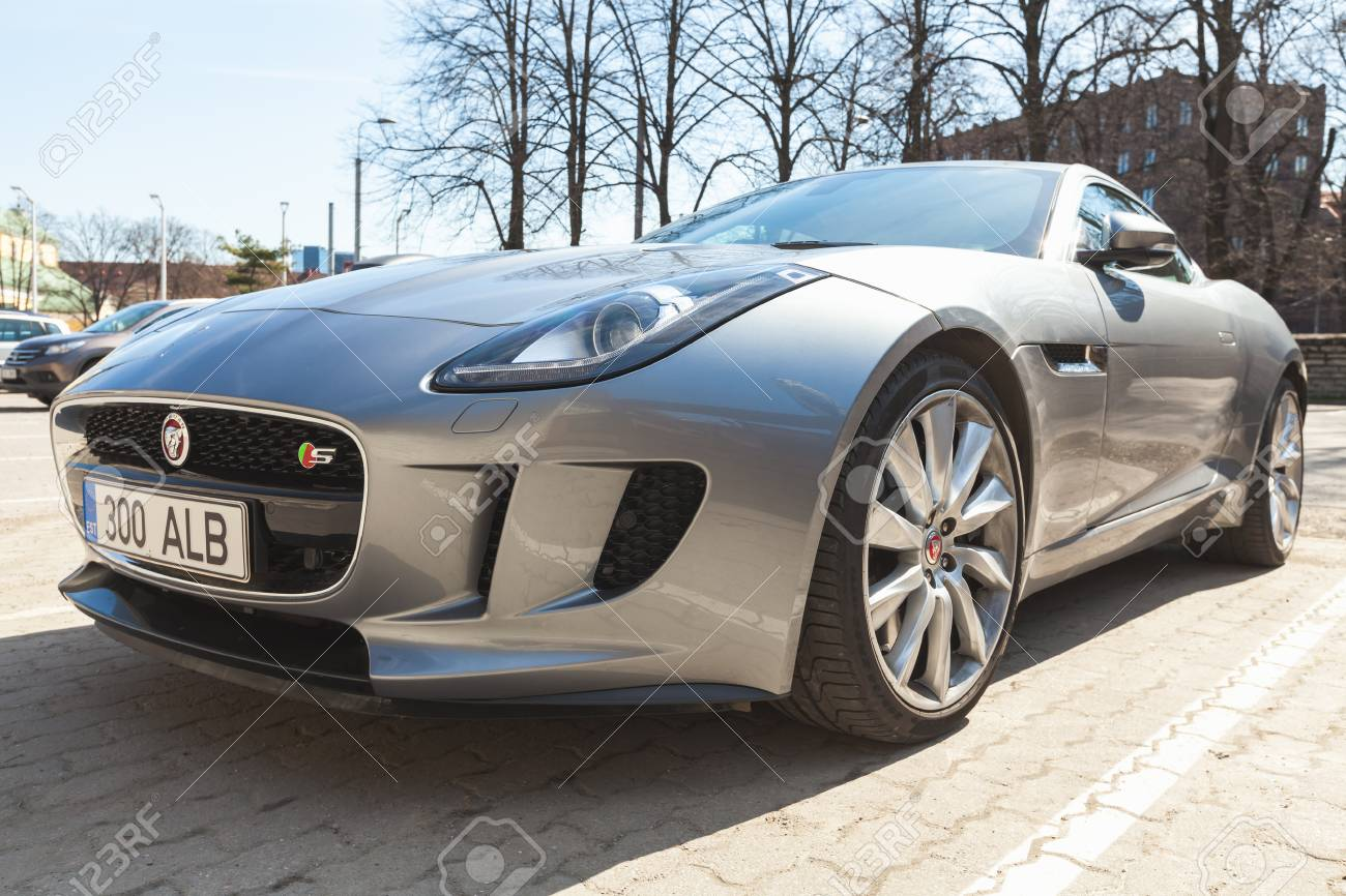 Stock Photo   Tallinn, Estonia   May 2, 2016: Gray Metallic Jaguar F Type  Coupe S, Closeup. Two Seat Sports Car, Based On A Platform Of The XK  Convertible, ...