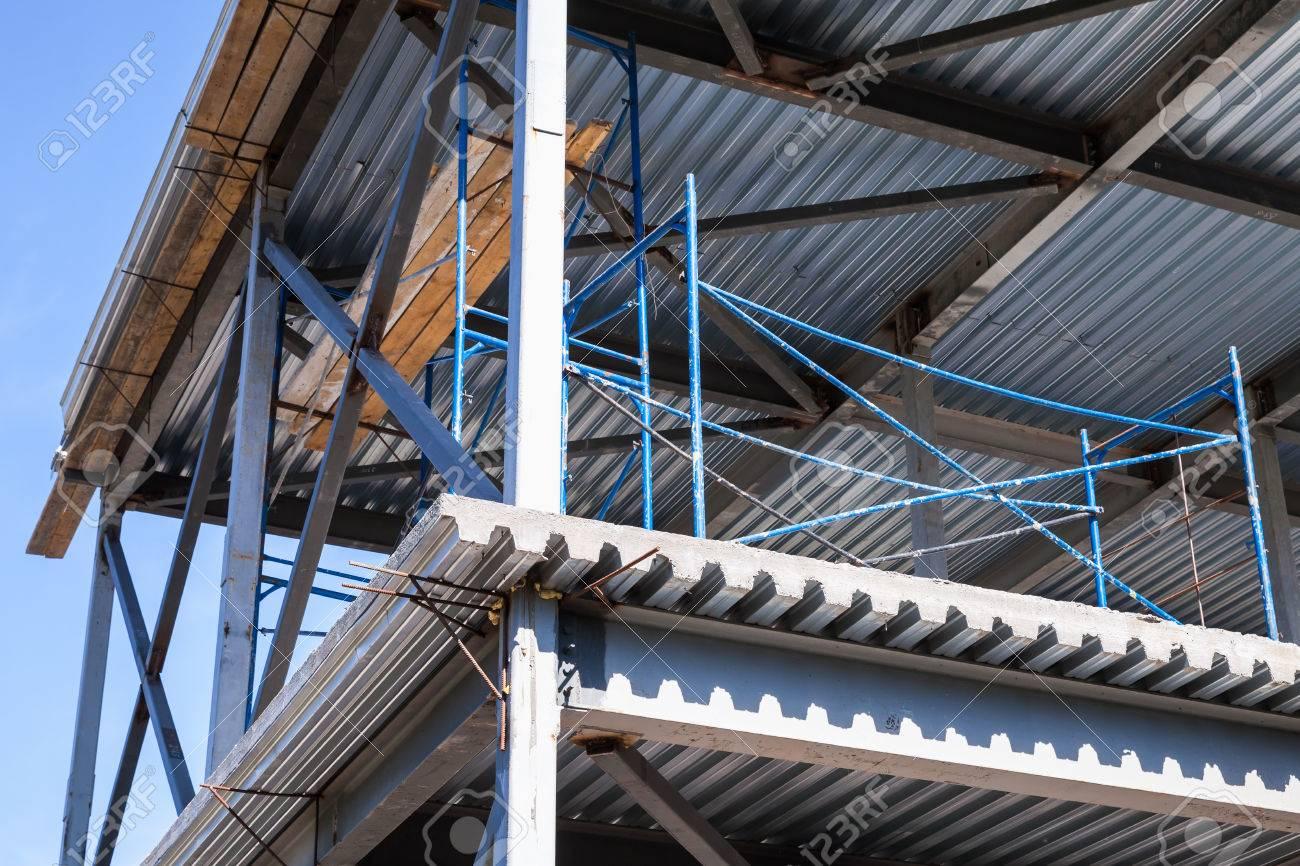 Moderno Edificio Industriale è In Costruzione. Travi In ??acciaio ...