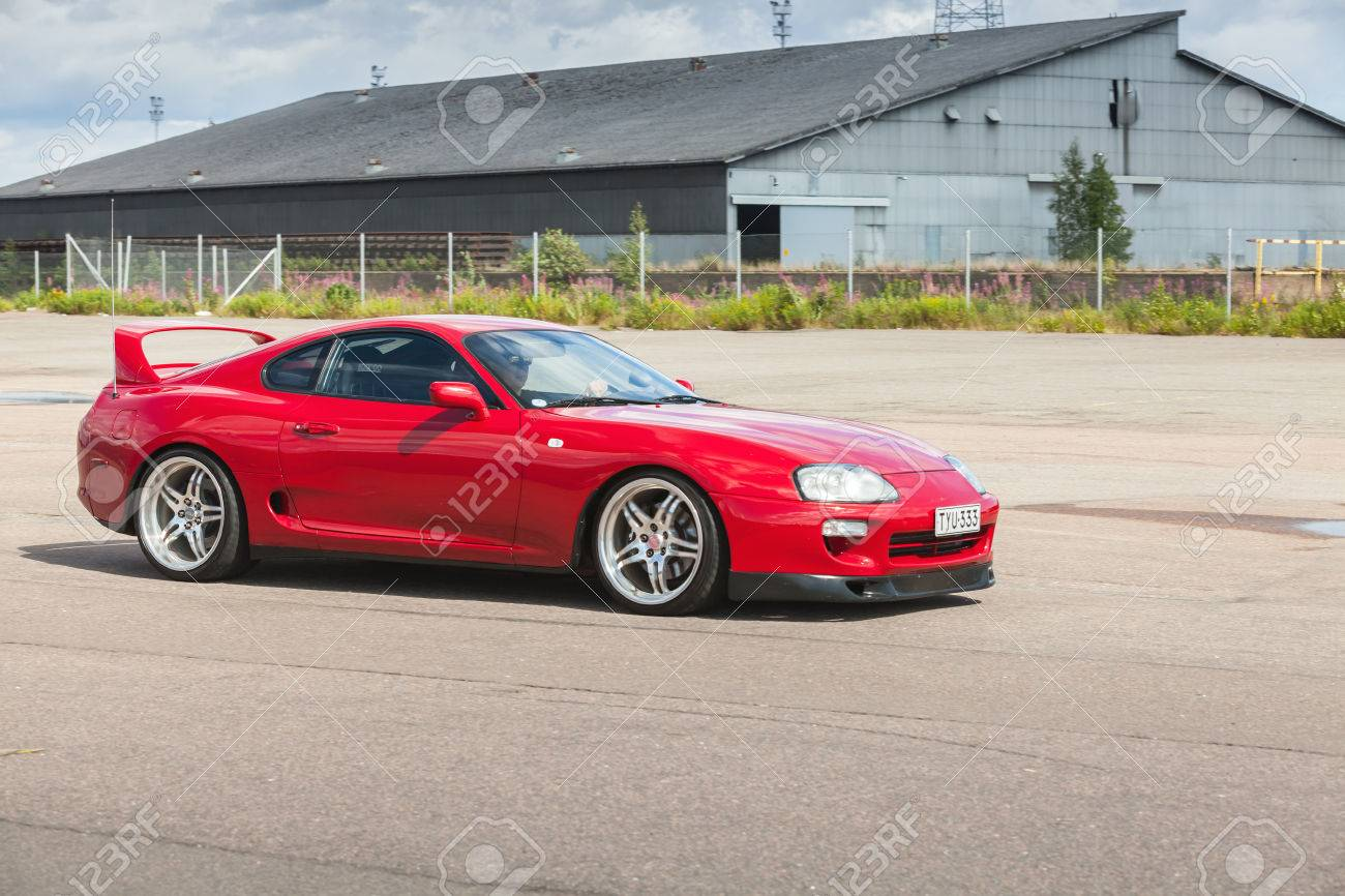 Kotka Finland July 16 2016 Red Toyota Supra A80 Goes Down