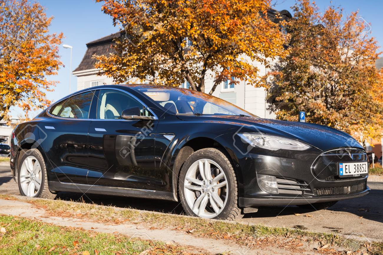 Trondheim, Norway - October 20, 2016: Black Tesla model S, full-size