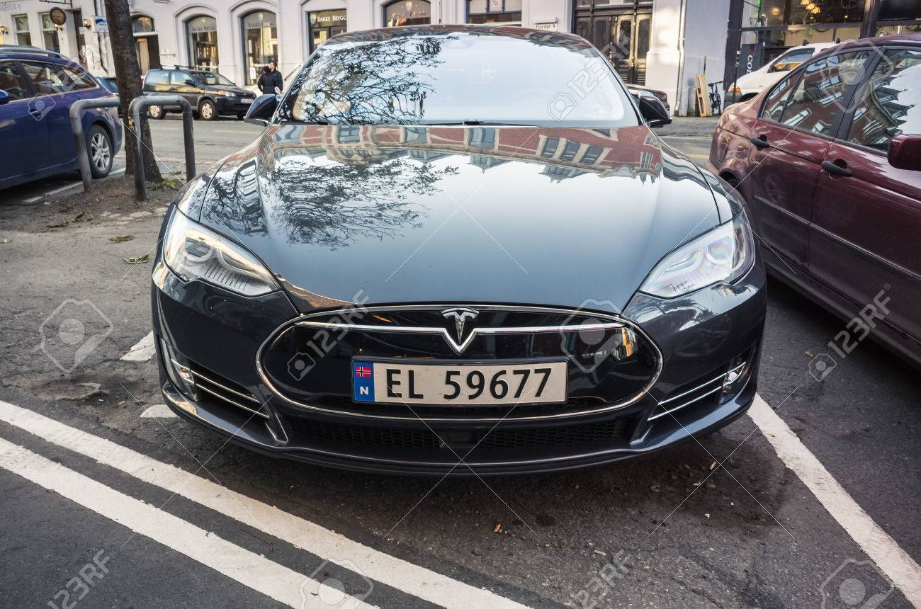 Trondheim, Norway - October 19, 2016: Black Tesla model S, full-size