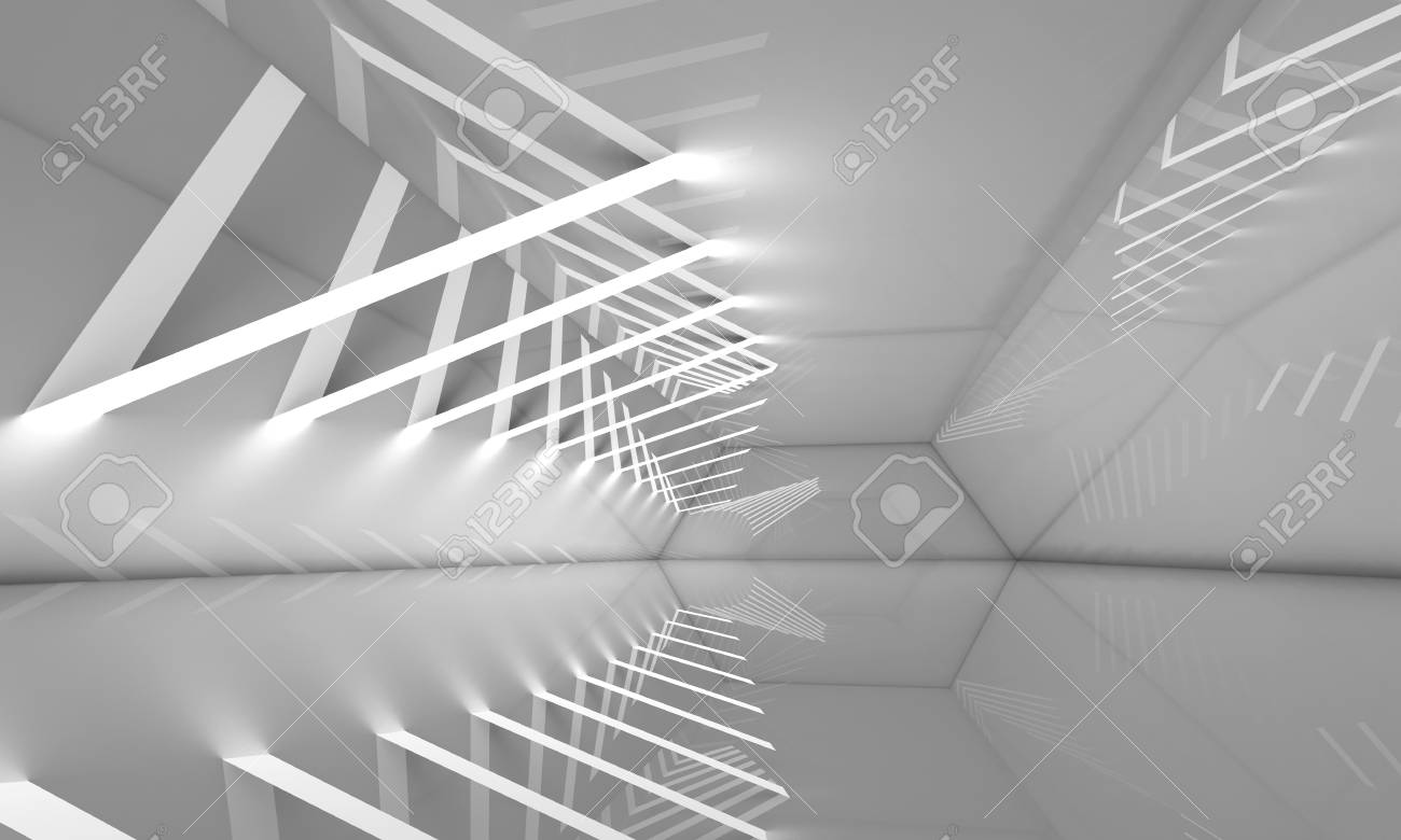 Abstract empty interior background corridor with stripes of