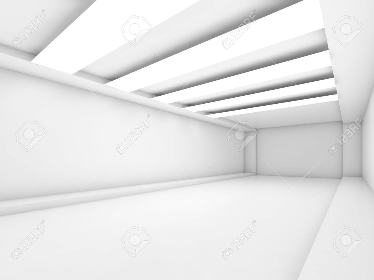 Abstract empty white corridor background with stripes of