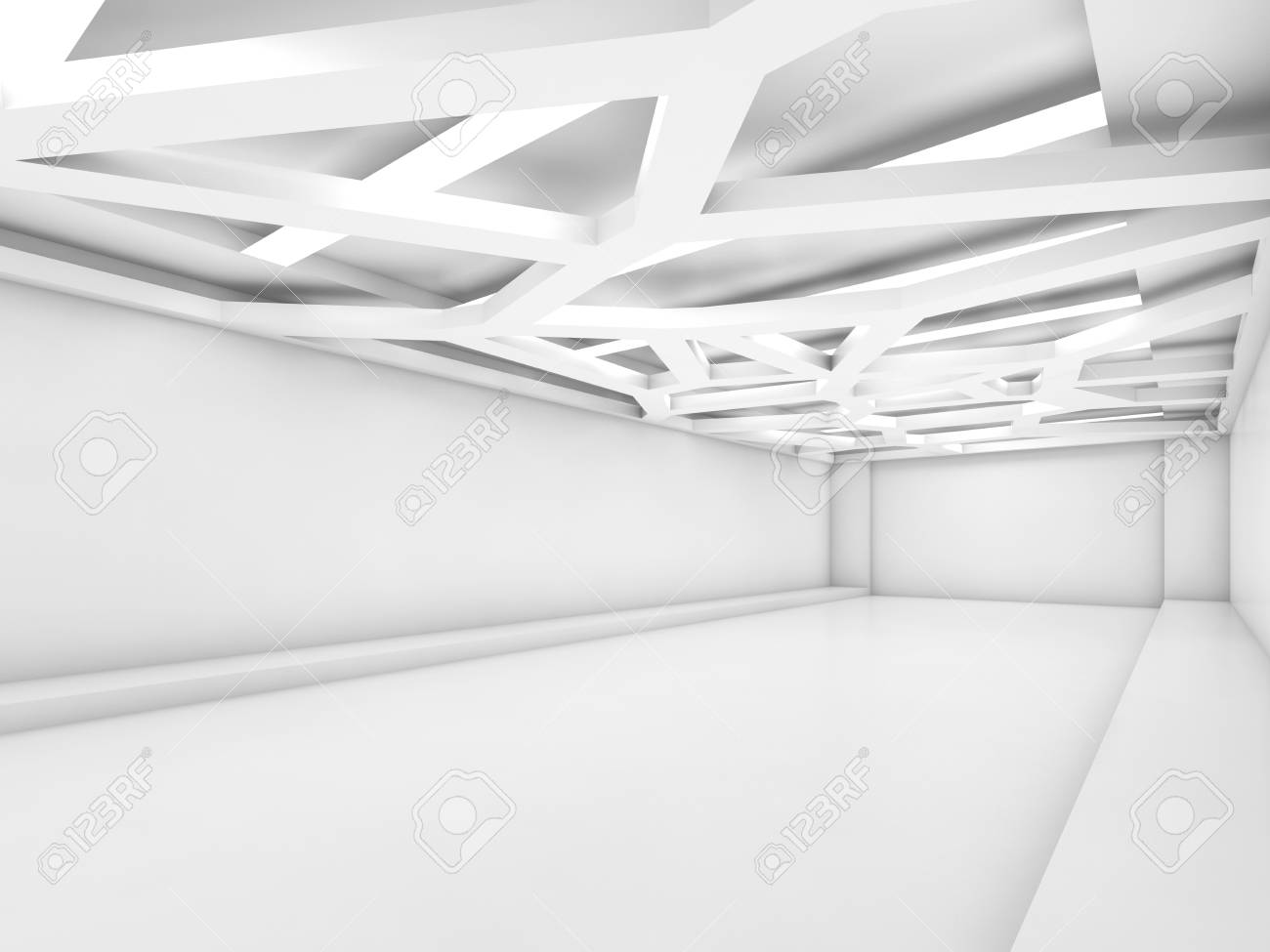Abstract Empty White Interior Background With Decorative Ceiling Stock Photo Picture And Royalty Free Image Image 67979847