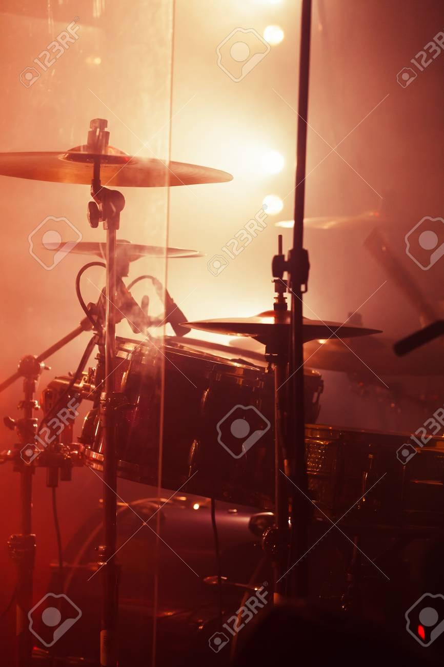 Live Rock Music Background Rock Drum Set Warm Toned Closeup