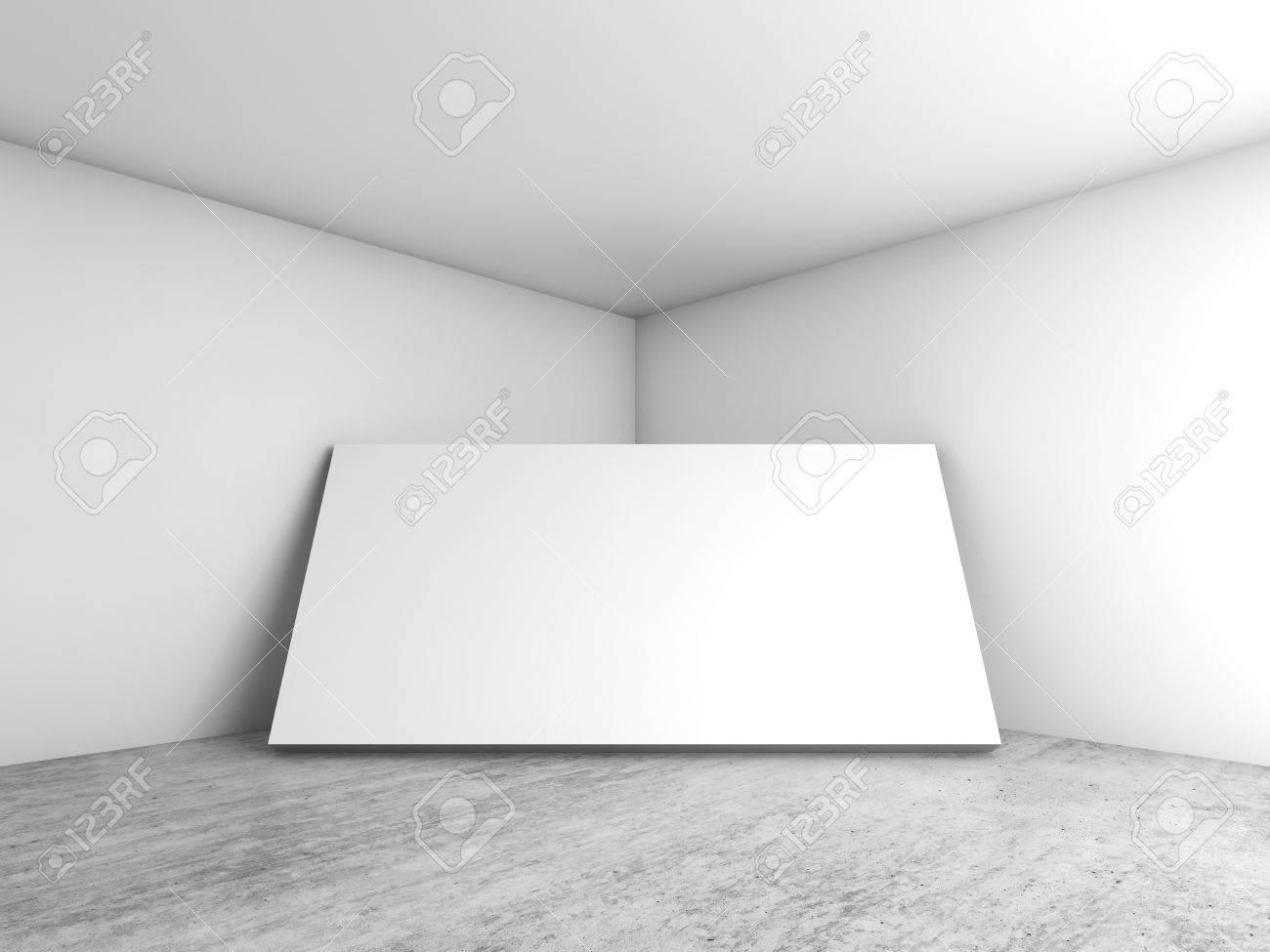 Abstrakt Weiß Leeres Interieur, Leere Banner Steht In Ecke ...