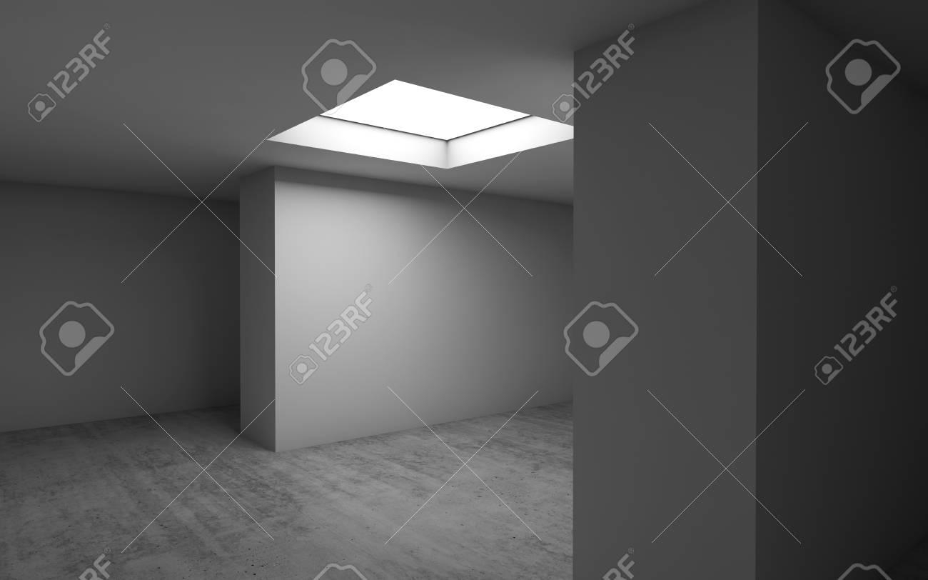 Banque Du0027images   Modèle Abstrait Du0027architecture Contemporaine, Fond  Intérieur Vide Avec Plancher De Béton Et Fenêtre De Lumière Au Plafond  Carré.