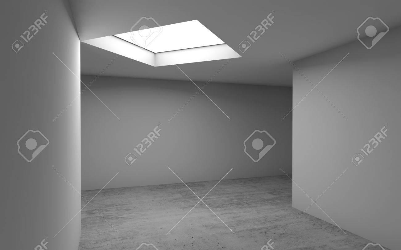 Abstrait architectural contemporain, intérieur de la salle vide. Sol en  béton, murs blancs et fenêtre carrée. Illustration de rendu 3D