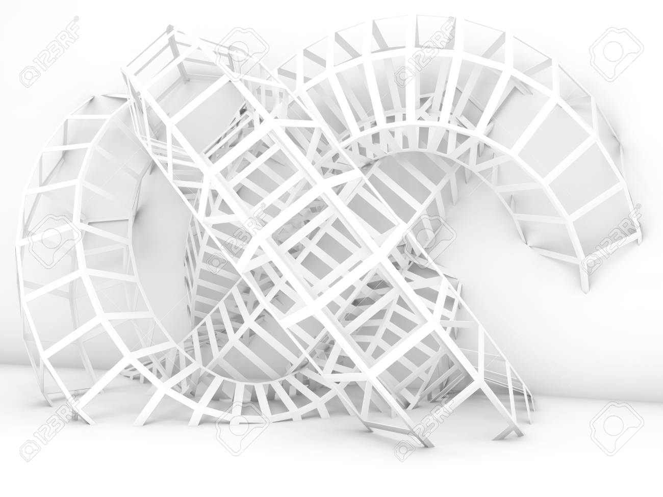 Abstract Digital Background, White Wire-frame Structure Installation ...
