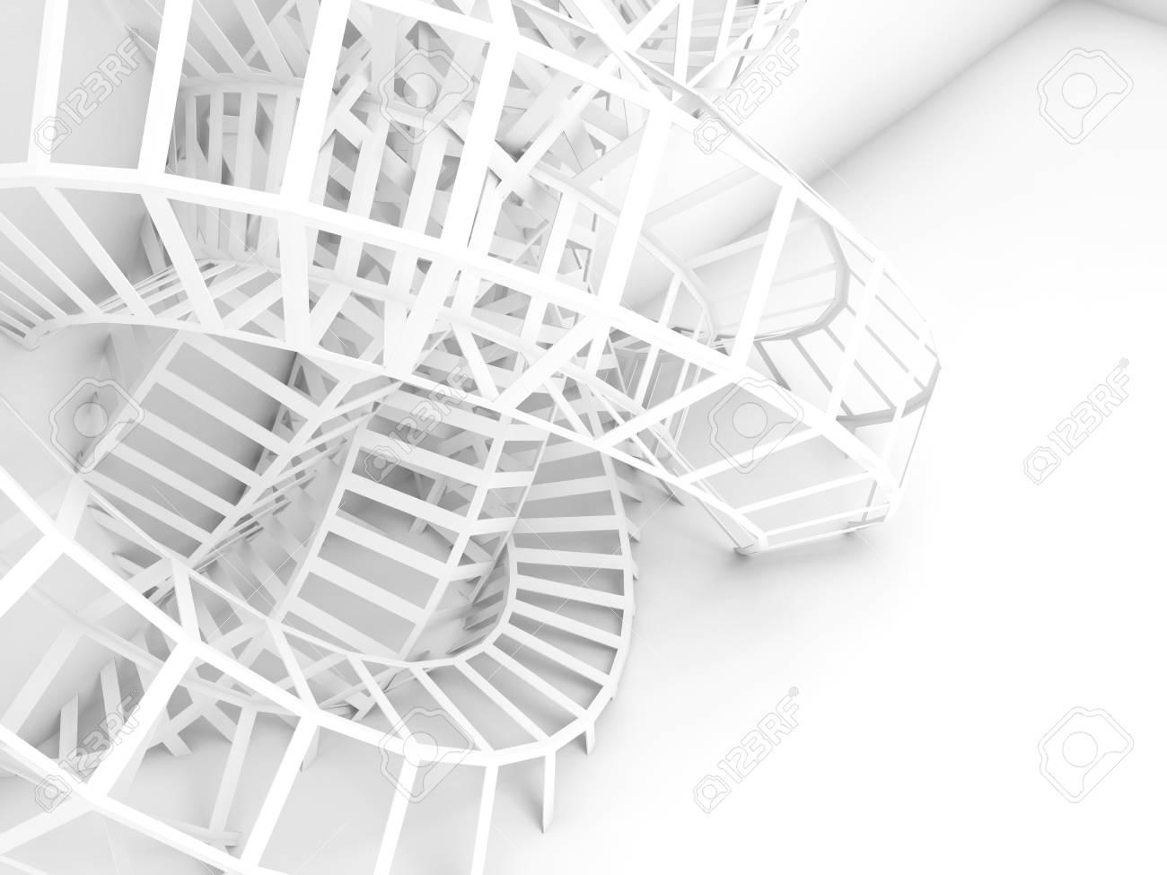 Abstract Digital Background, White Wire Installation. 3d Render ...