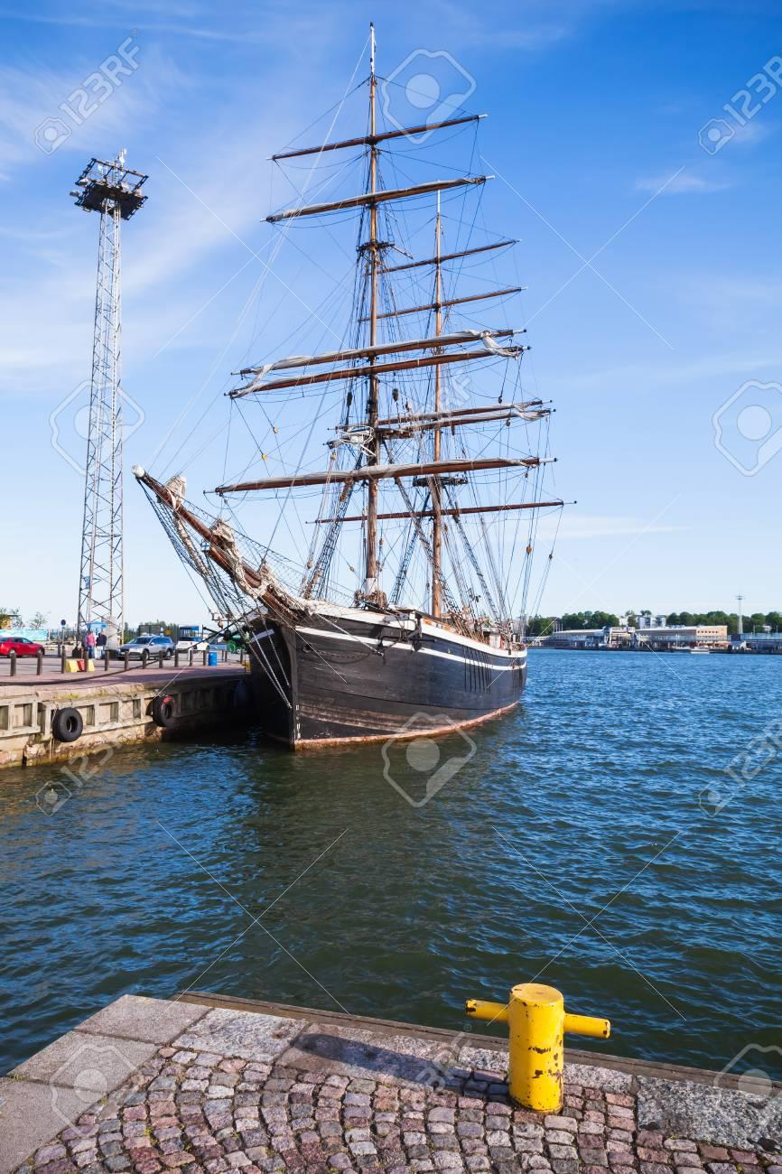 Vintage Brig Stands Moored In Helsinki Port Old Wooden Sailing