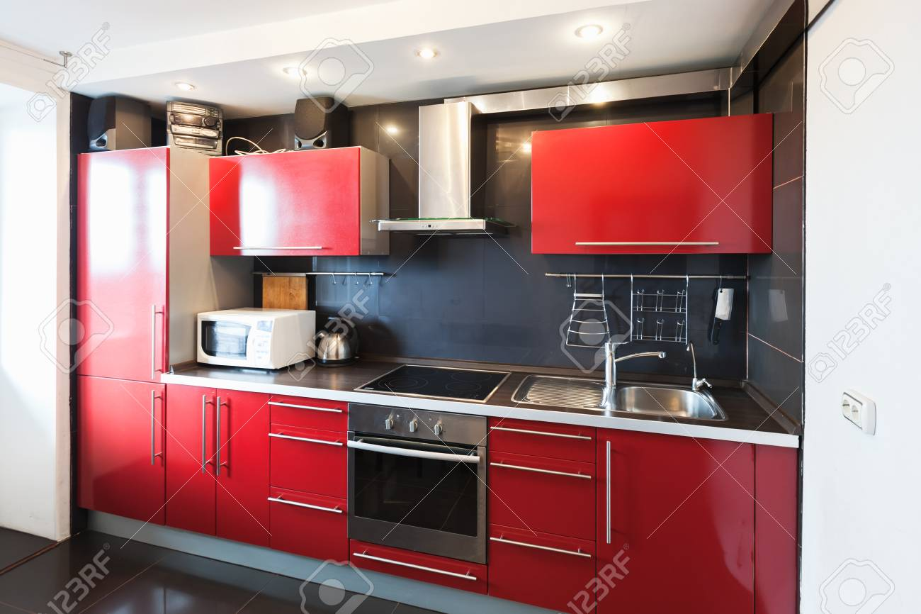 Modern Kitchen Room Interior Black Red And White Design Stock Photo Picture And Royalty Free Image Image 100718586