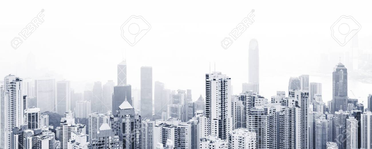 Blue toned modern cityscape background, panoramic city photo with urban skyline at foggy day - 153655464