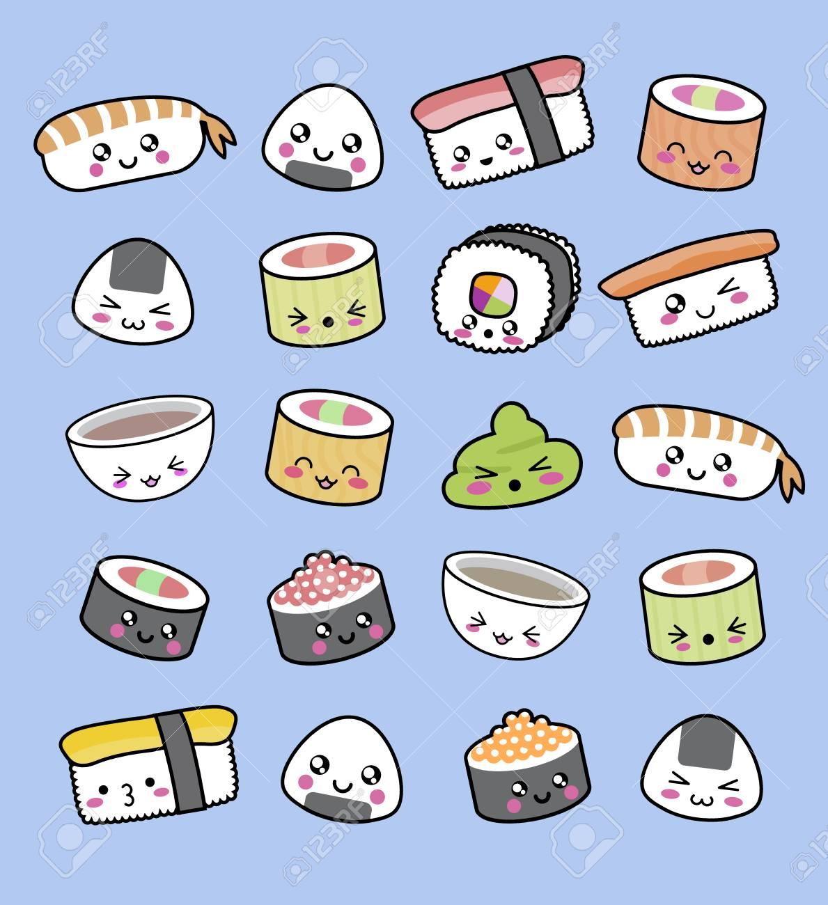 Modèle De Sushi Kawaii Heureux Motif Fait De Sushi De Wasabi Et De Soupe Miso Dans Un Style Kawaii Tout Mignon Enfantin Et Minimaliste