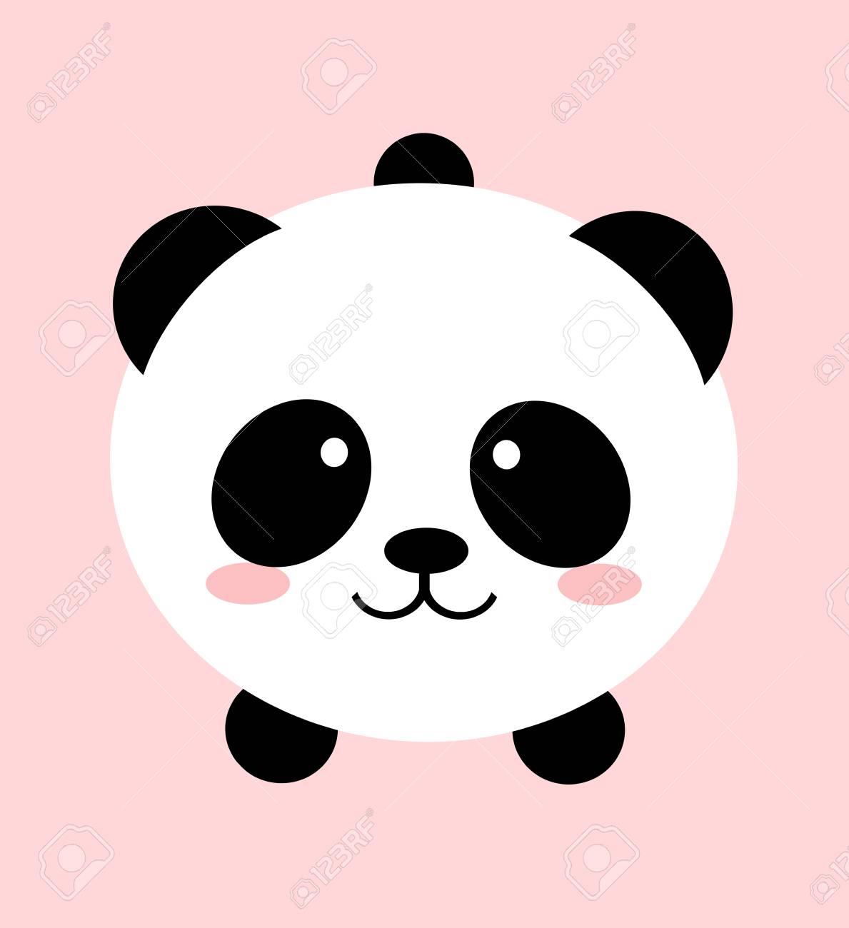 Digital Design Of A Lovely Cute Kawaii Panda Bear Over