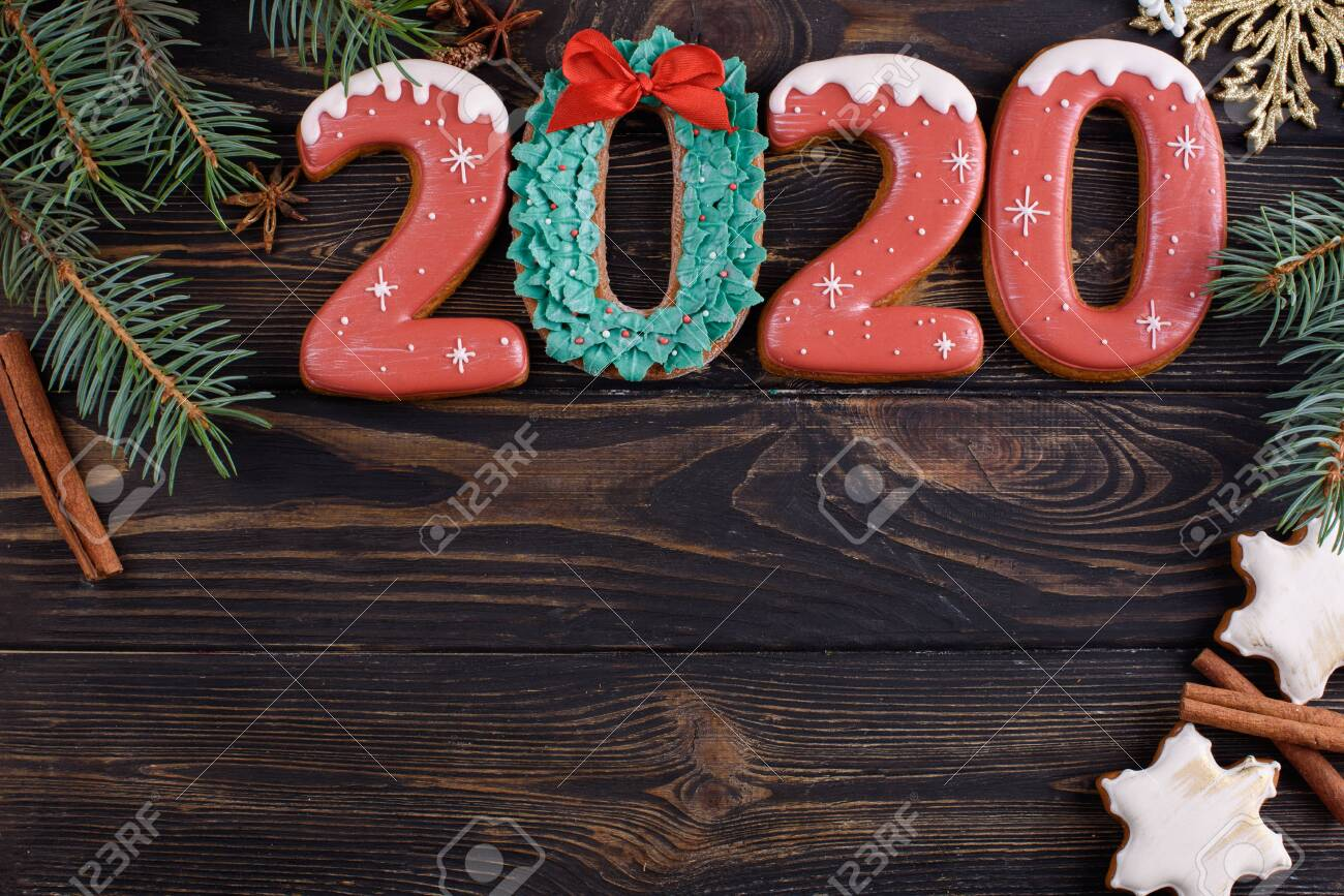 Christmas Cookies 2020 Christmas Gingerbread Cookies Number 2020 With Card, On A Wooden