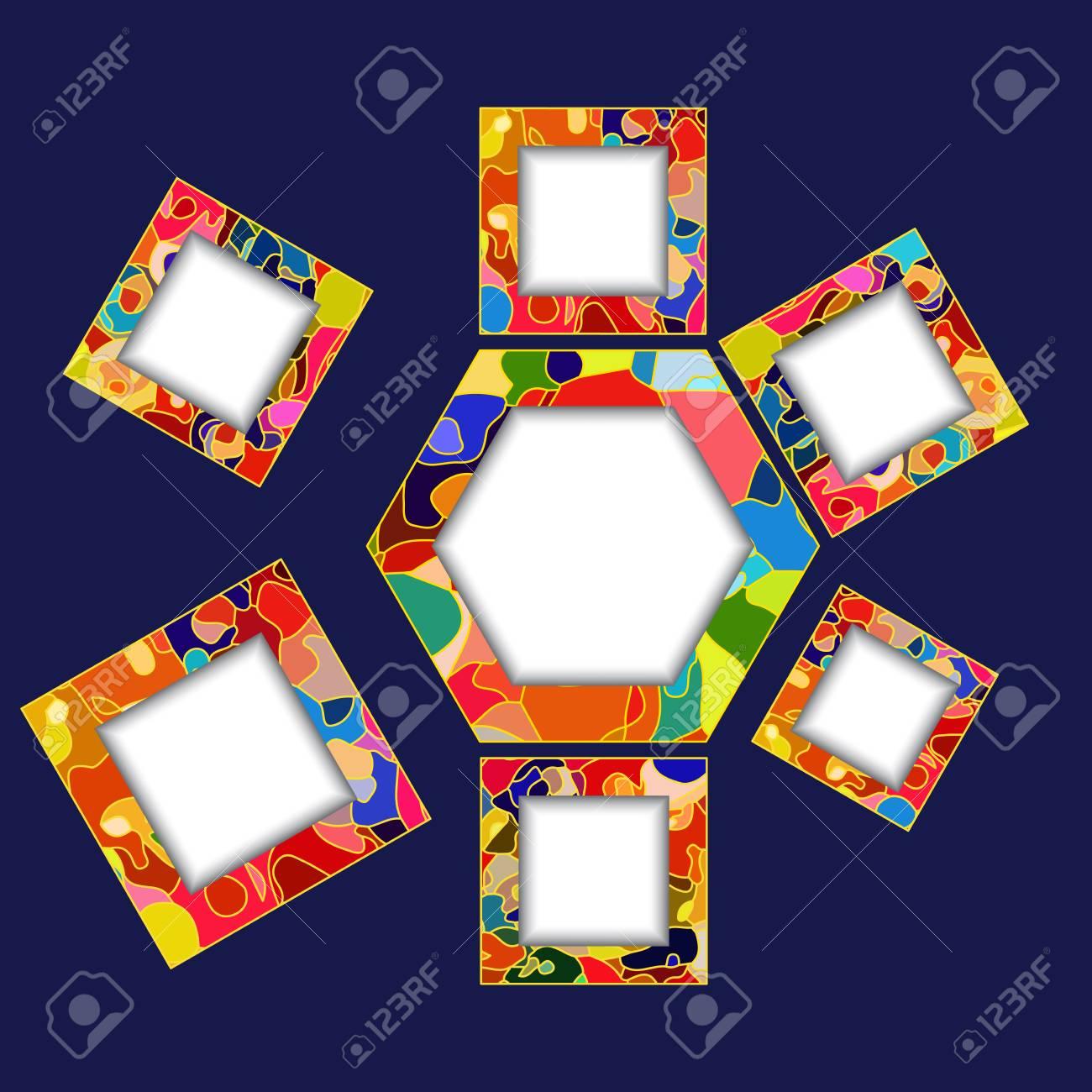 Polígono De Mosaico Abstracto Y Marcos Cuadrados Para El Flujo De ...