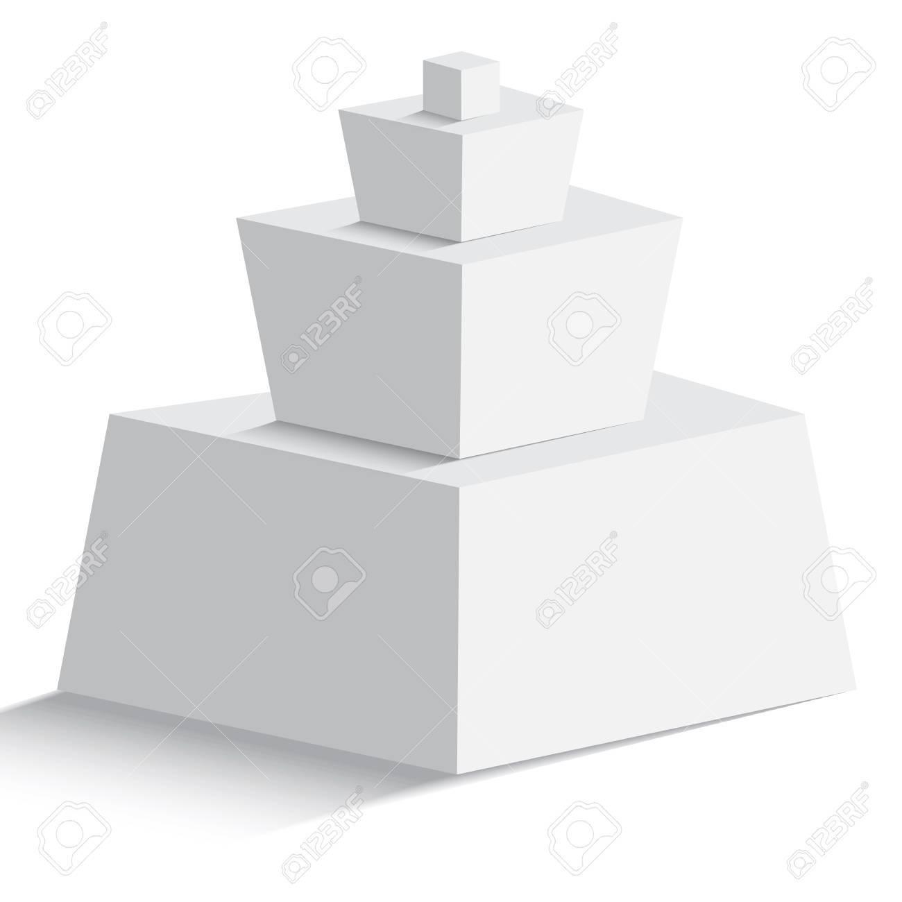Pirámide En Blanco Aislado De Cuatro Objetos Geomertic Sobre Fondo ...
