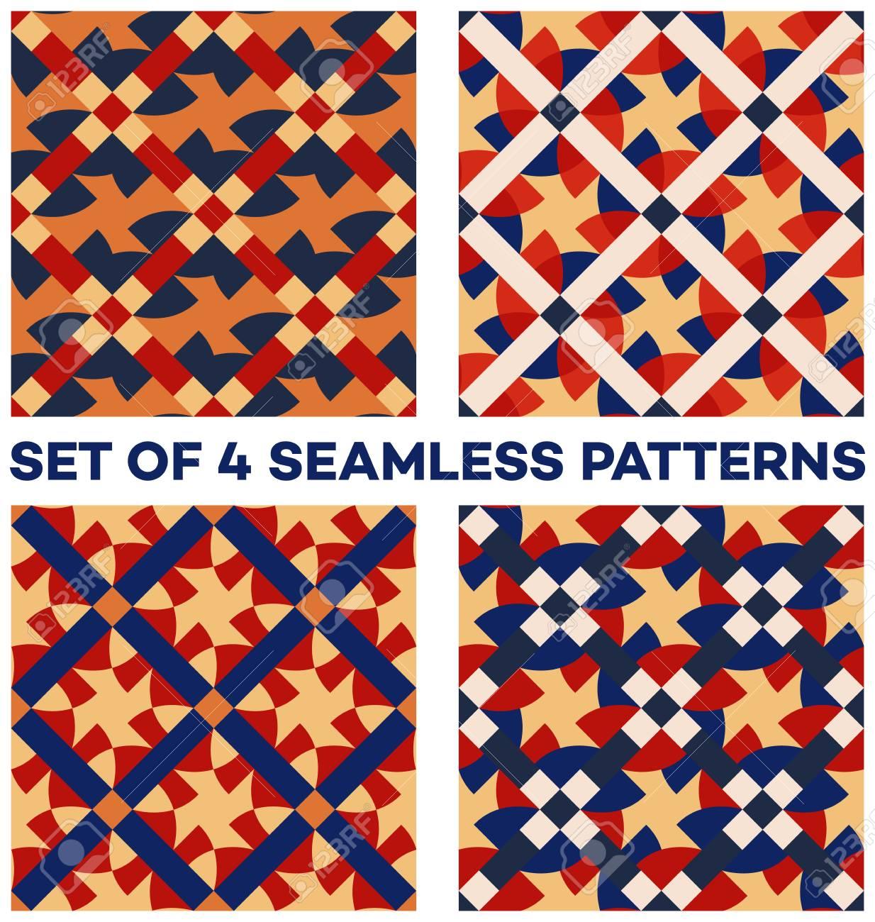 Set Von 4 Abstrakten Zeitgenössischen Geometrischen Nahtlose Muster ...