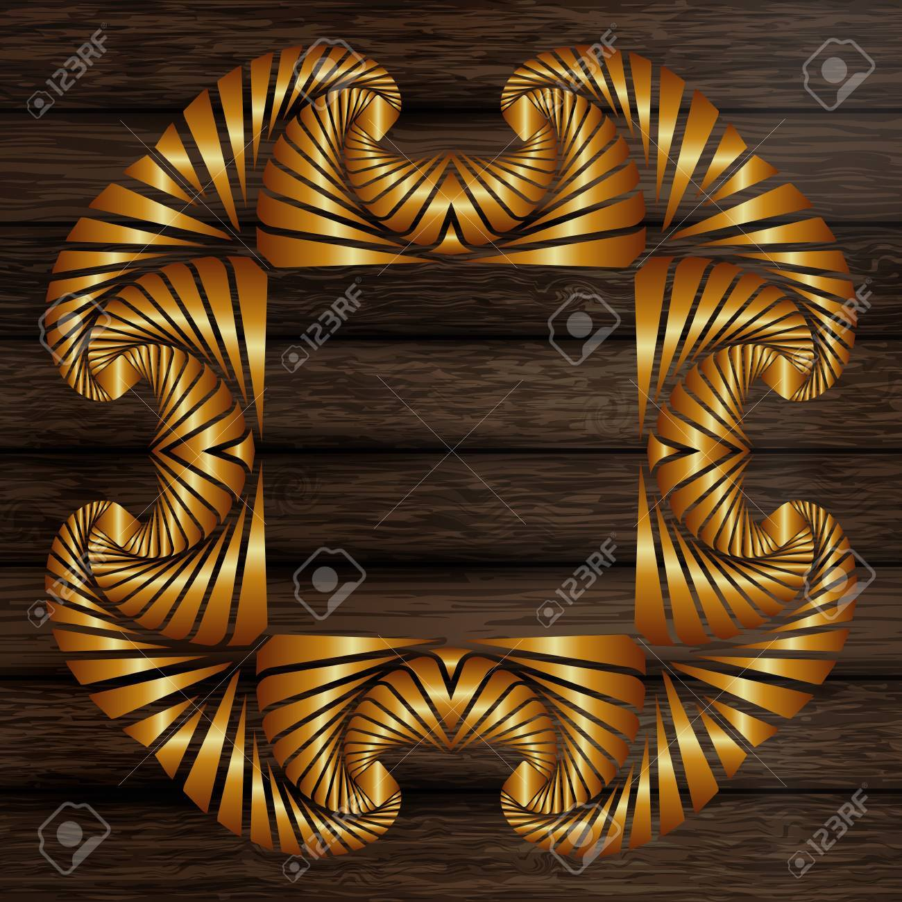 Abstract Decorative Golden Frame On Wooden Horizontal Plank Boards ...