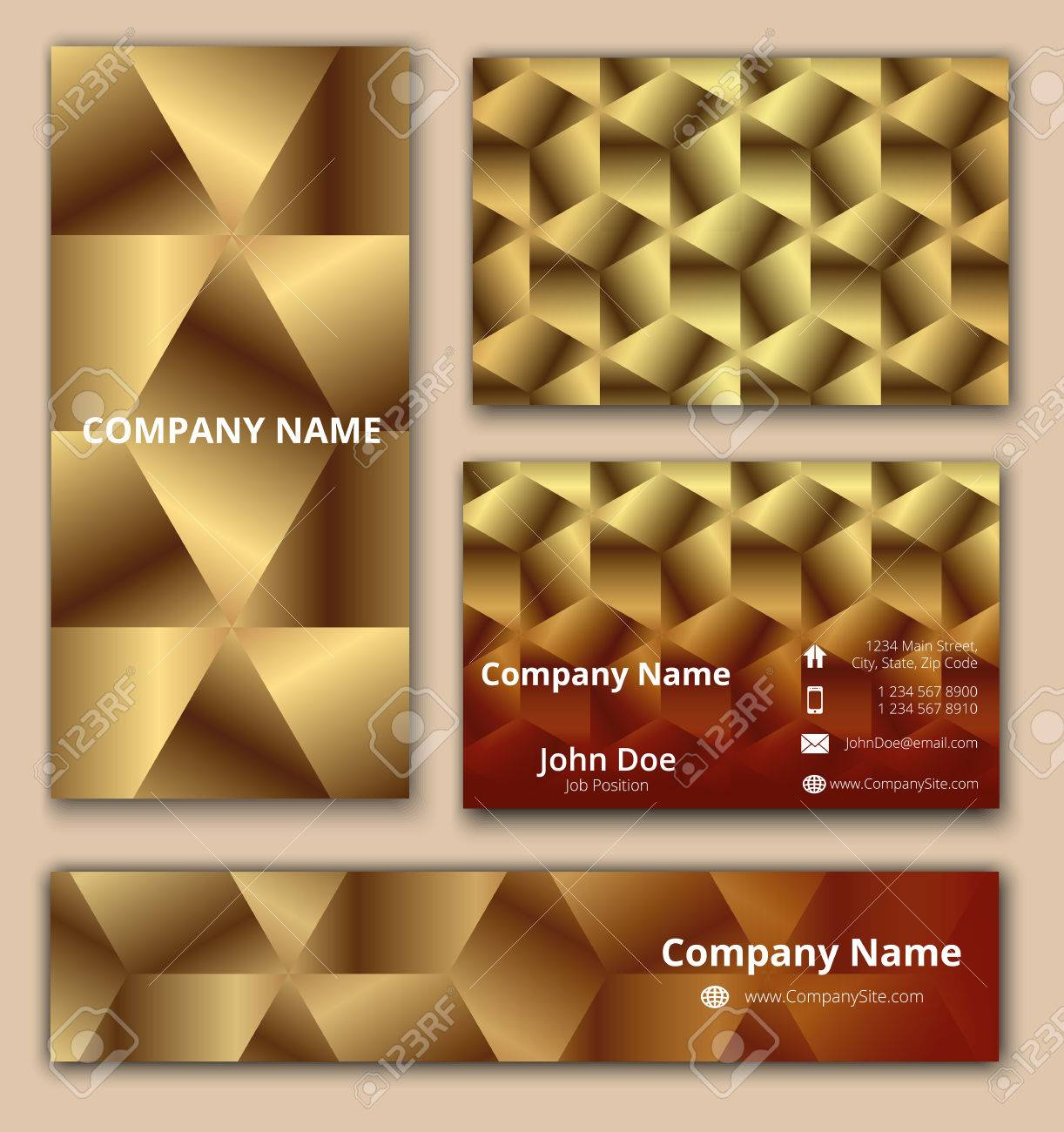 Corporate Identity Set Of Business Card Banner And Invitation