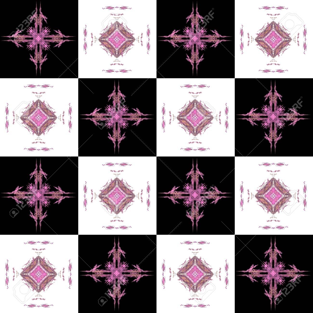 Textura Con El Patrón De Fractal De Células Blancas Y Rosas Negras