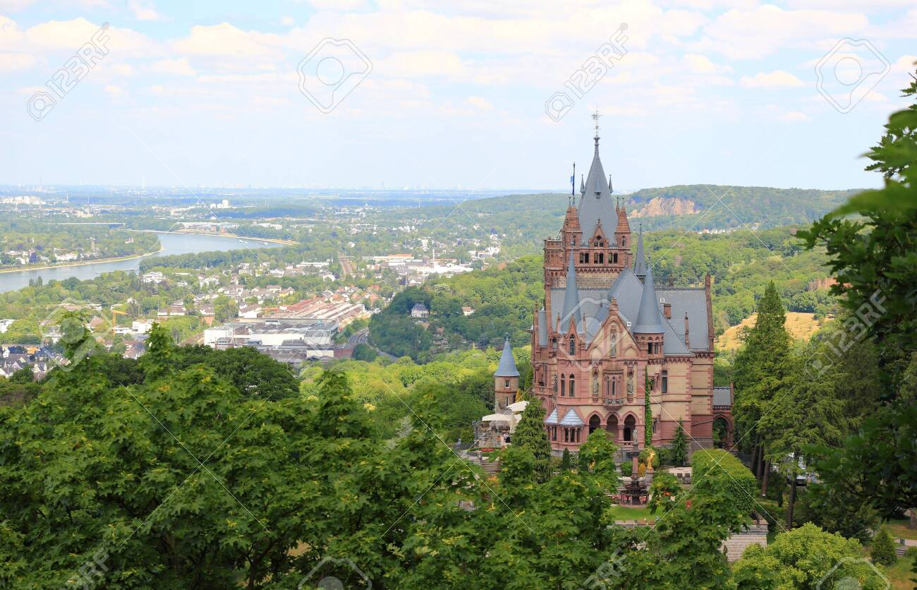 Drachenburg Castle, Rhine valley and the city of Bonn. Germany, Europe. - 149595790