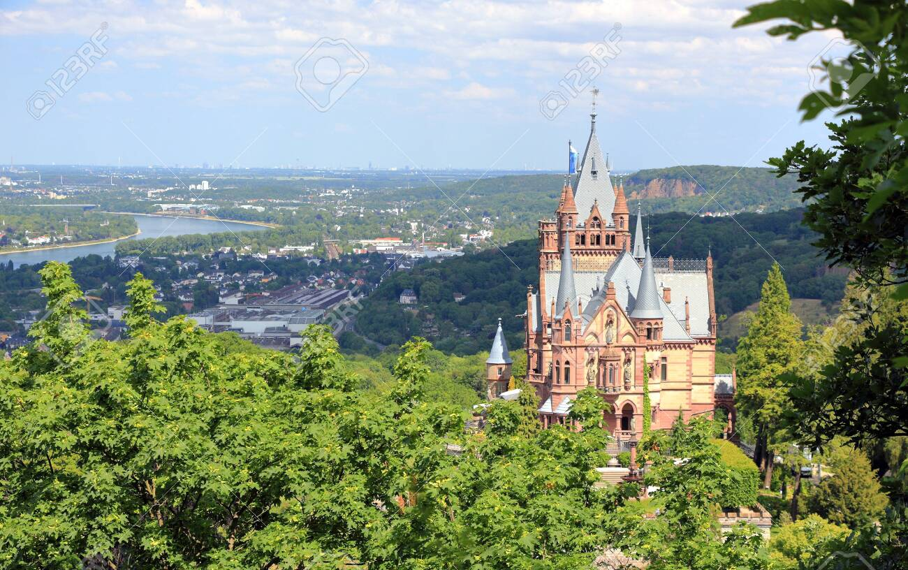 Drachenburg Castle, Rhine valley and the city of Bonn. Germany, Europe. - 149595792