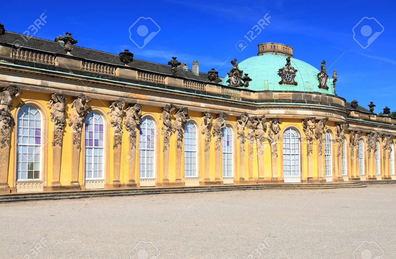 Potsdam, Germany - September 18, 2020: Visiting the royal palace und park Sanssouci in Potsdam on a sunny day in September. View on the south or garden façade and corps de logis of Sanssouci. - 164924744